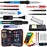 Updated Soldering Iron Kit, WRLSUN 60W Adjustable Temperature Electric Soldering Iron 110V with ON/OFF Switch, Welding Tool, Digital Multimeter, Soldering Iron Stand