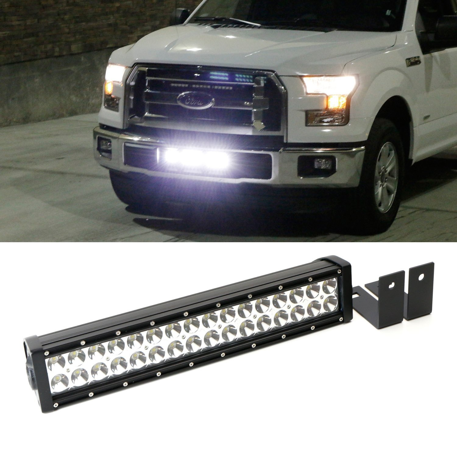 Ijdmtoy Complete High Power Led Light Bar W Lower 1949 Chevy Truck Fuse Box Bumper Insert Area Mounting Brackets And Wiring Switch For 2015 Up Ford F 150 Xlt