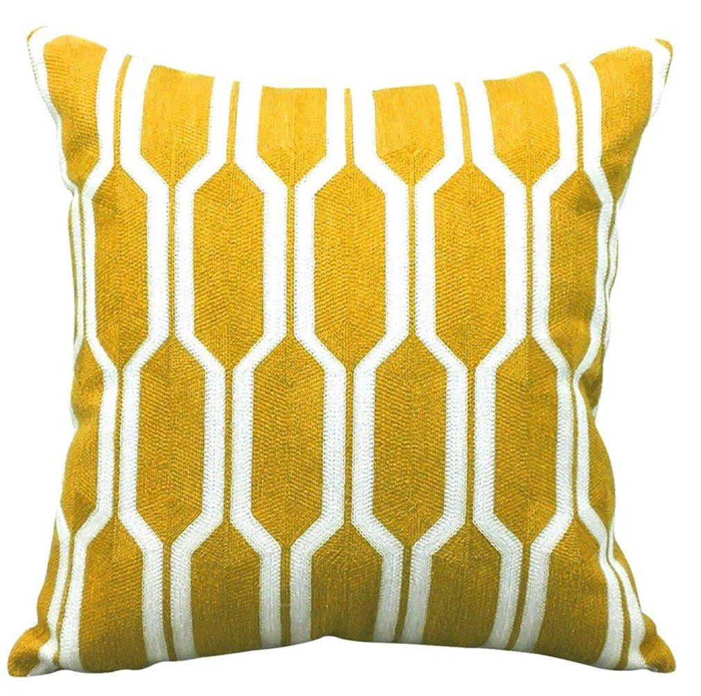 livebycare刺繍幾何枕カバーコットン18 x 18インチ枕カバーシャムケースジッパーの装飾車ホームソファクリスマスDay 18*18''WITH INSERT イエロー LC_CX_jehe-M_liubianxinghuang-S B07CKMJB3K 18*18''WITH INSERT|Hexagon Yellow Hexagon Yellow 18*18''WITH INSERT