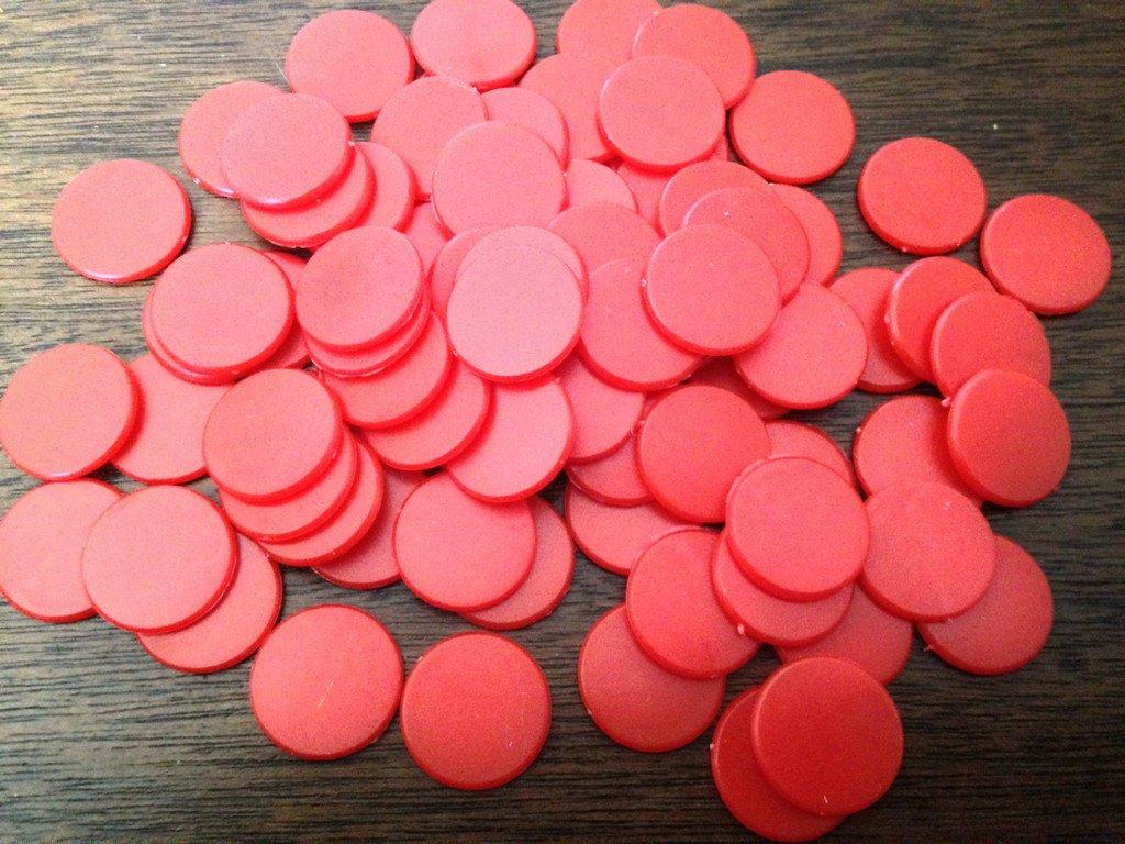 200pcs Compteurs De Jeu De Plateau en Plastique Opaque Enseignement De Calcul Rouge Bleu Bleu Rouge