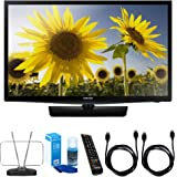 Samsung (UN24H4000) 24-inch 720p HD Slim LED TV Clear Motion Rate 120 w/ TV Cut the Cord Bundle Includes, Durable HDTV and FM Antenna, Universal Screen Cleaner & 2x 6ft High Speed HDMI Cable - Black