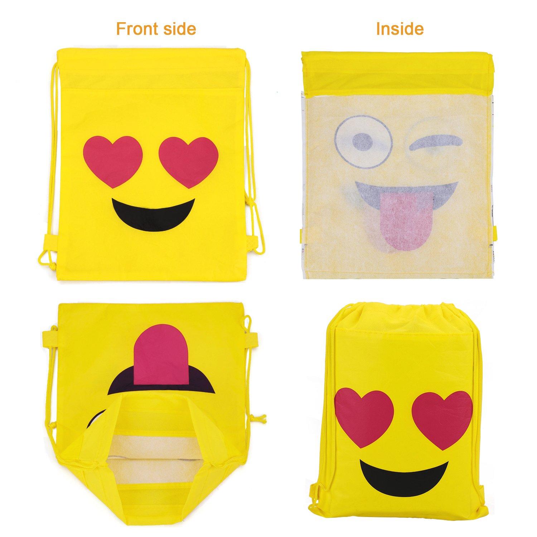 Konsait Emoji Bags for Emoji Party Supplies(12Pack), Emoji Drawstring Backpack Shoulder Bag Bulk Assorted Emoticon Party for Boys Girls Kids Birthday Candy Baby Shower Emoji Party Favors Gift by Konsait (Image #3)