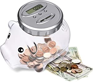 AMAGO Piggy Bank with LCD Display, Digital Savings Bank as a Decoration Gift for Friends and Kids, Large Transparent Bottle Creative Coin Jar.
