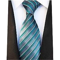 New Classic White Blue Striped Tie Woven Jacquard Silk Men's Suits Ties Necktie