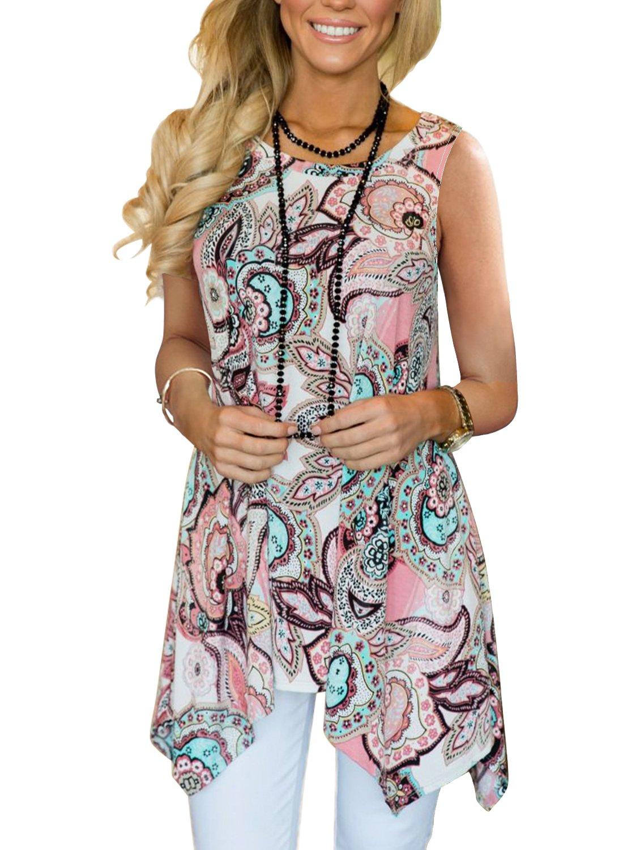 MIROL Womens Casual Summer Floral Print Sleeveless Irregular Hem Asymmetrical Loose Long Tunic Blouse Tops (X-Large, Pink1)