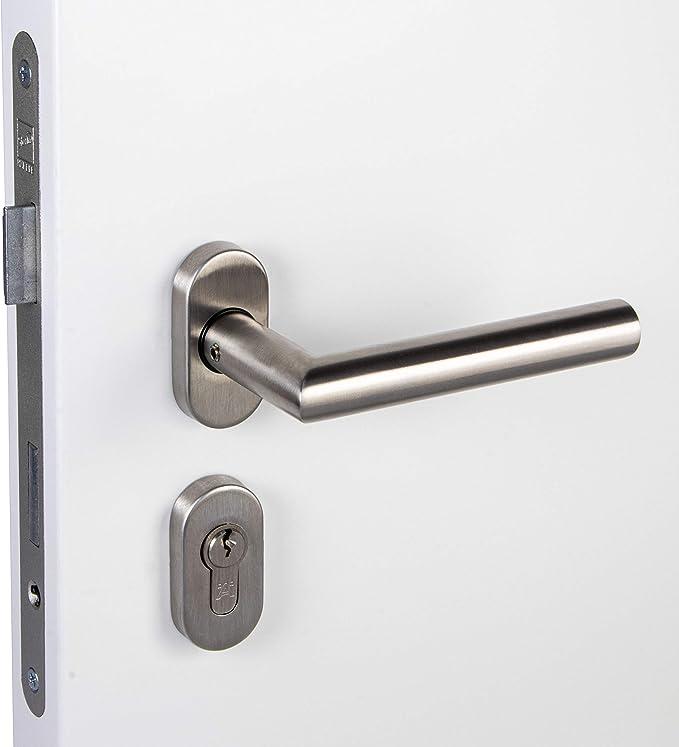 Tirador de Puerta Set de Tirador Acero Inoxidable Herrajes para Puertas Forma-L - PZ - Ovalado: Amazon.es: Bricolaje y herramientas