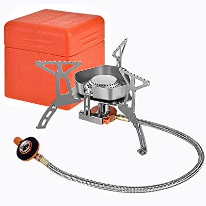 Camping Gas Stove Burner Windproof Backpacking Stove 3500 W Strong Firepower With Piezo Ignition Portable Folding Lightweight Stainless Steel Camp Stove For Hiking Outdoor Cooking Propane Butane Kitchen Dining Amazon Com
