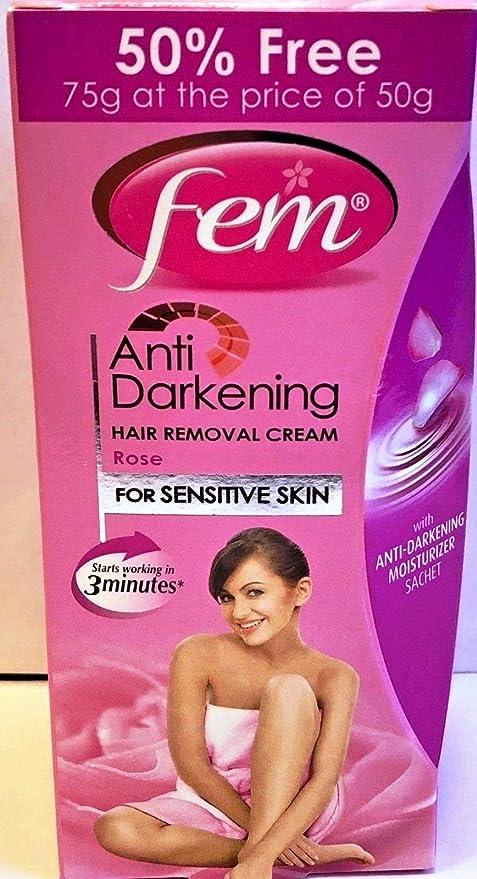 Amazon Com Fem Anti Darkening Hair Removal Cream Rose For Sensitive Skin 75 G Pack 40 G 20 G 15 G Moisturizer Health Personal Care