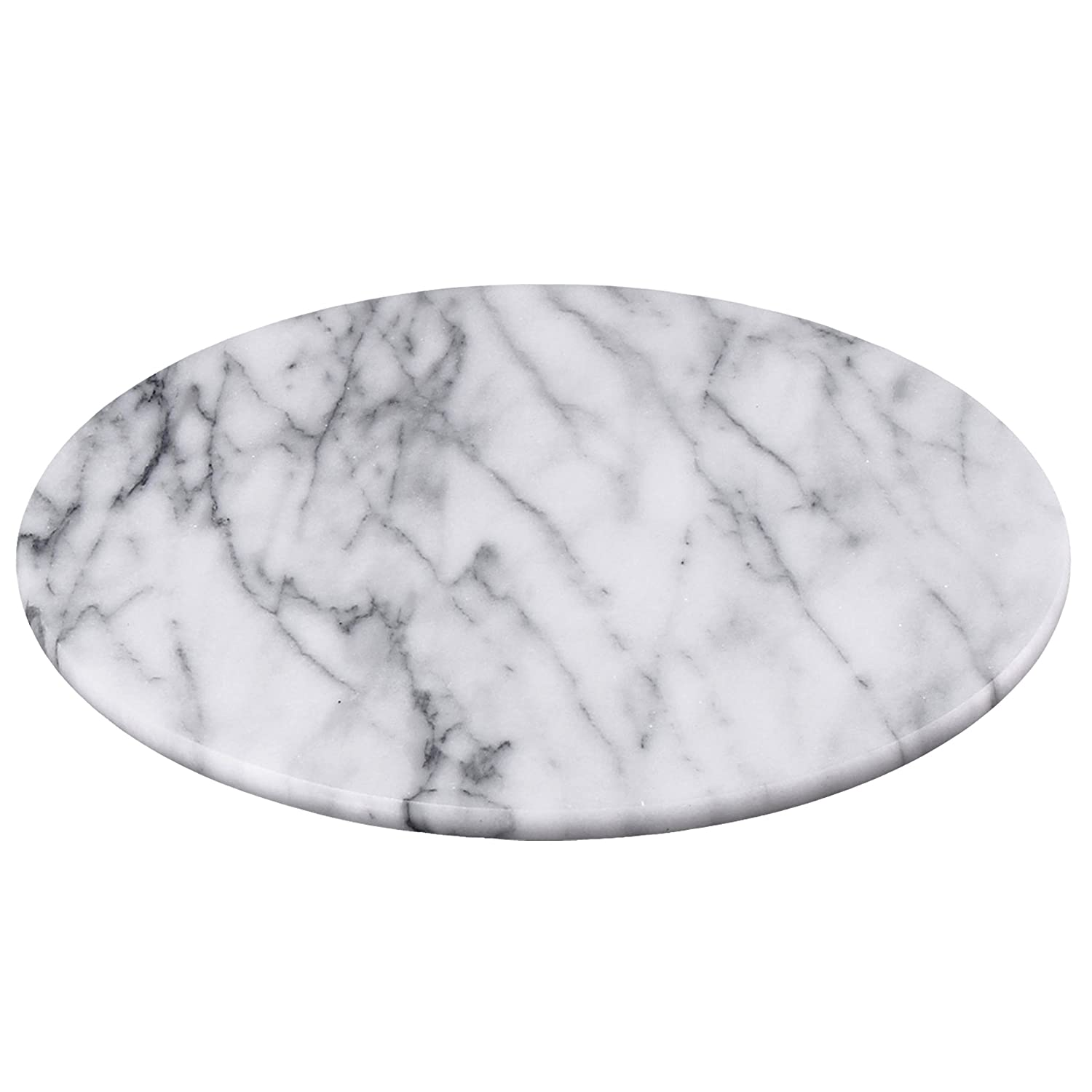 """Creative Home 74722 Natural Marble 12"""" Diam. Round Board Cheese Serving Plate, x 1"""" H, Off-White"""