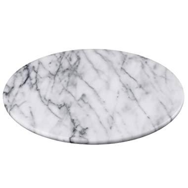 Creative Home 74722 Natural Marble 12  Diam. Round Board Cheese Serving Plate, x 1  H, Off- Off-White
