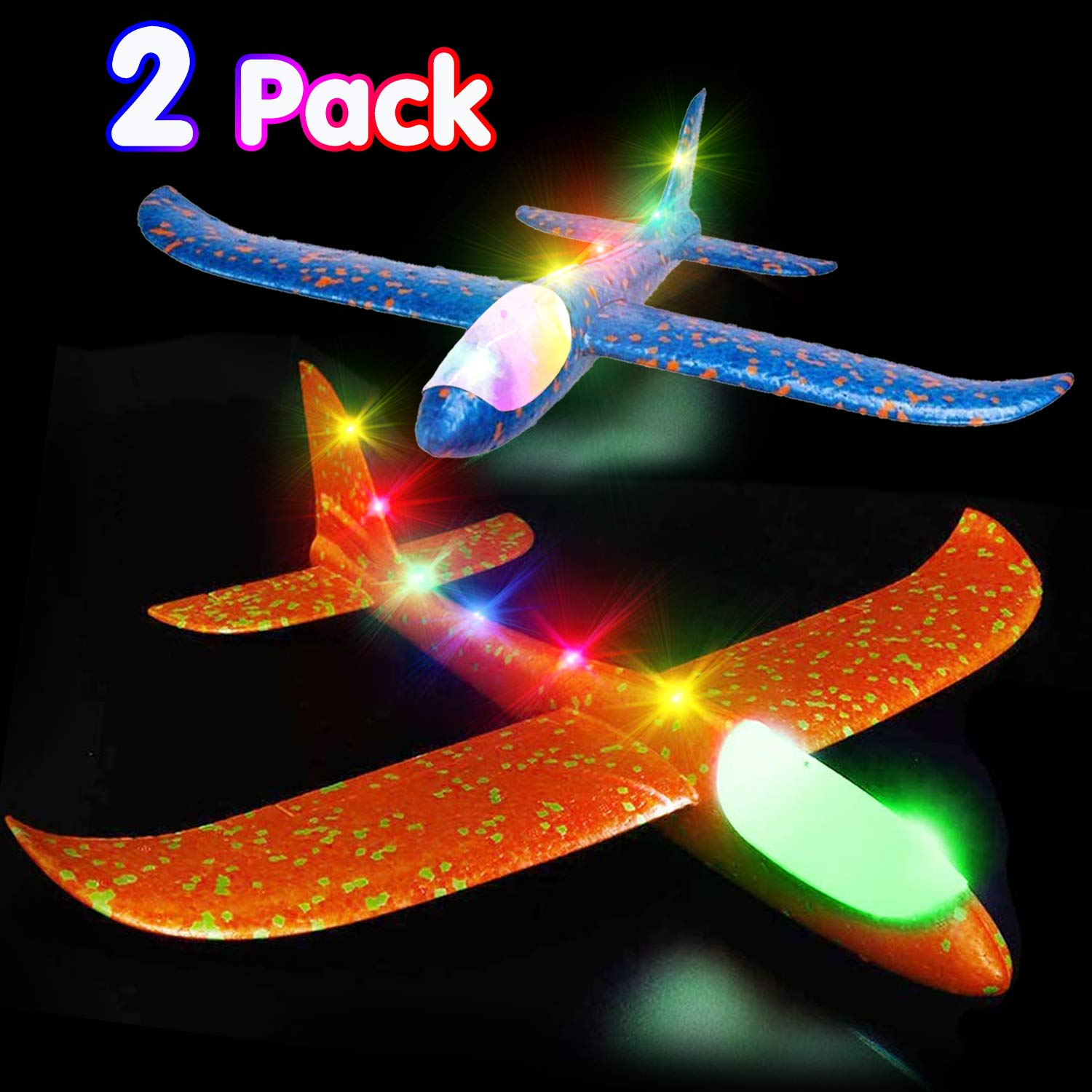 Airplane Toys Throwing Foam Plane, 20 Inch Gaint LED Light Up Glider Airplane Model Toy with Dual Flight Mode Challenging Outdoor Plane Jet Sports Game Flying Toys Gift for Kids Toddlers Teen (4 Pack) by AMENON