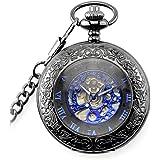 【ノーブランド品】レトロな スチームパンク 機械式 懐中時計 手風の刻印 メタルブルー、ブラック