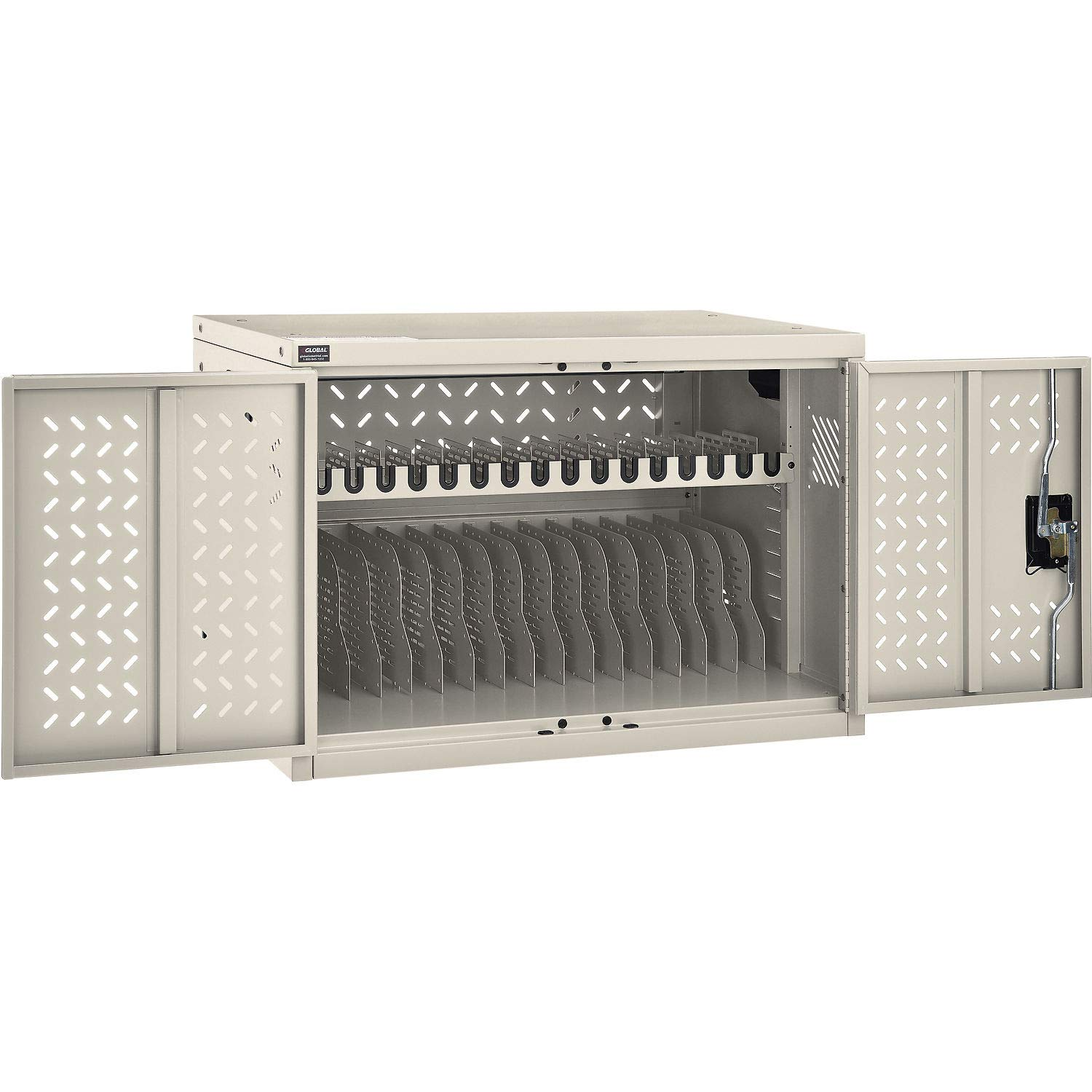 16-Device Charging Cabinet, Putty, Unassembled by Global Industrial