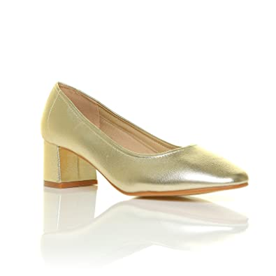 e7d150464ce1 Bow Metalic Gold PU Low Heel Smart Slip On Casual Work Office Shoes Size UK  5