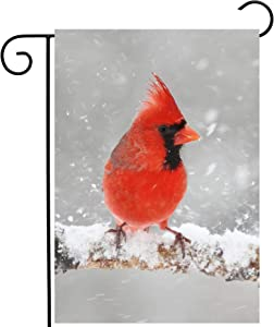 "ShineSnow Cardinals Christmas Birds in Winter Snow Tree Wildlife Seasonal Garden Yard Flag 12""x 18"" Double Sided Polyester Welcome House Flag Banners for Patio Lawn Outdoor Home Decor"