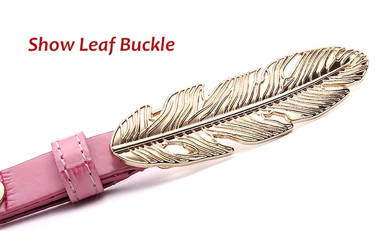 Leaf Buckle Thin Leather Belt Pattern Belt Gold Buckle Belt For Women Four Color