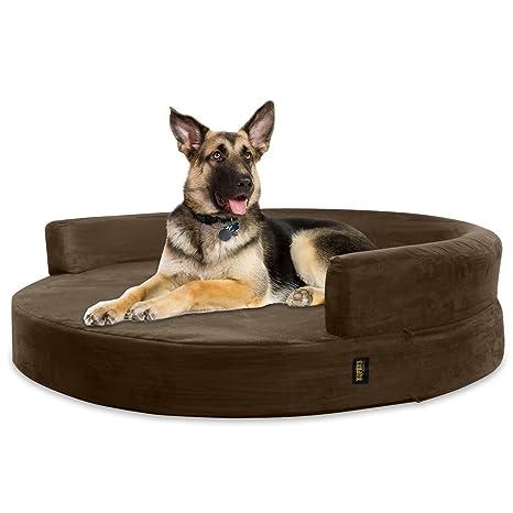 KOPEKS Sofa Redondo Cama Marrón para Perro Perros Mascotas Extra Grande XL con Memoria Viscoelástica Colchón Ortopédico 127 cm Diámetro - Round Lounge ...