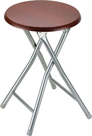 DecorRack Wooden Seat Folding Stool Cherry 2 Pack 18 inch Portable Lightweight Foldable Chair Collapsible Sitting Stool with Wooden Seating Top