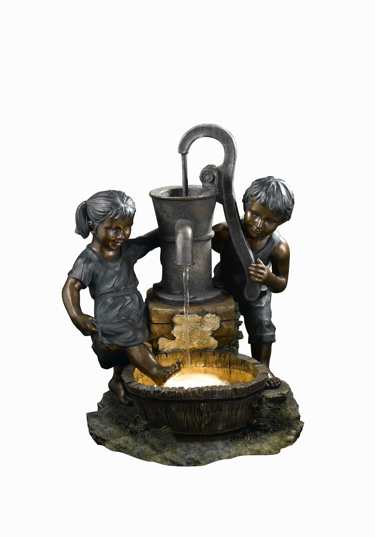 OK Lighting Playing Child Garden Fountain