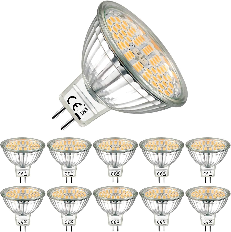 EACLL Bombillas LED GU5.3 2700K Blanco Cálido MR16 12V 5W 500 Lúmenes Equivalente 50W Halógena. Sin Parpadeo, 120 ° Luz Blanca Cálida Lámpara Reflectoras Spotlight, Pack de 10