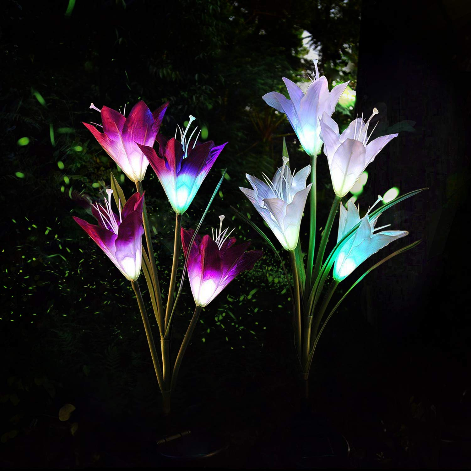 Solar Light Flower, 2 Pack Garden Stake Lights Outdoor for Night Lighting, Solar Powered 7 Multi-Color Changing LED Landscape Lighting for Decorating The Path, Yard, Lawn,Patio