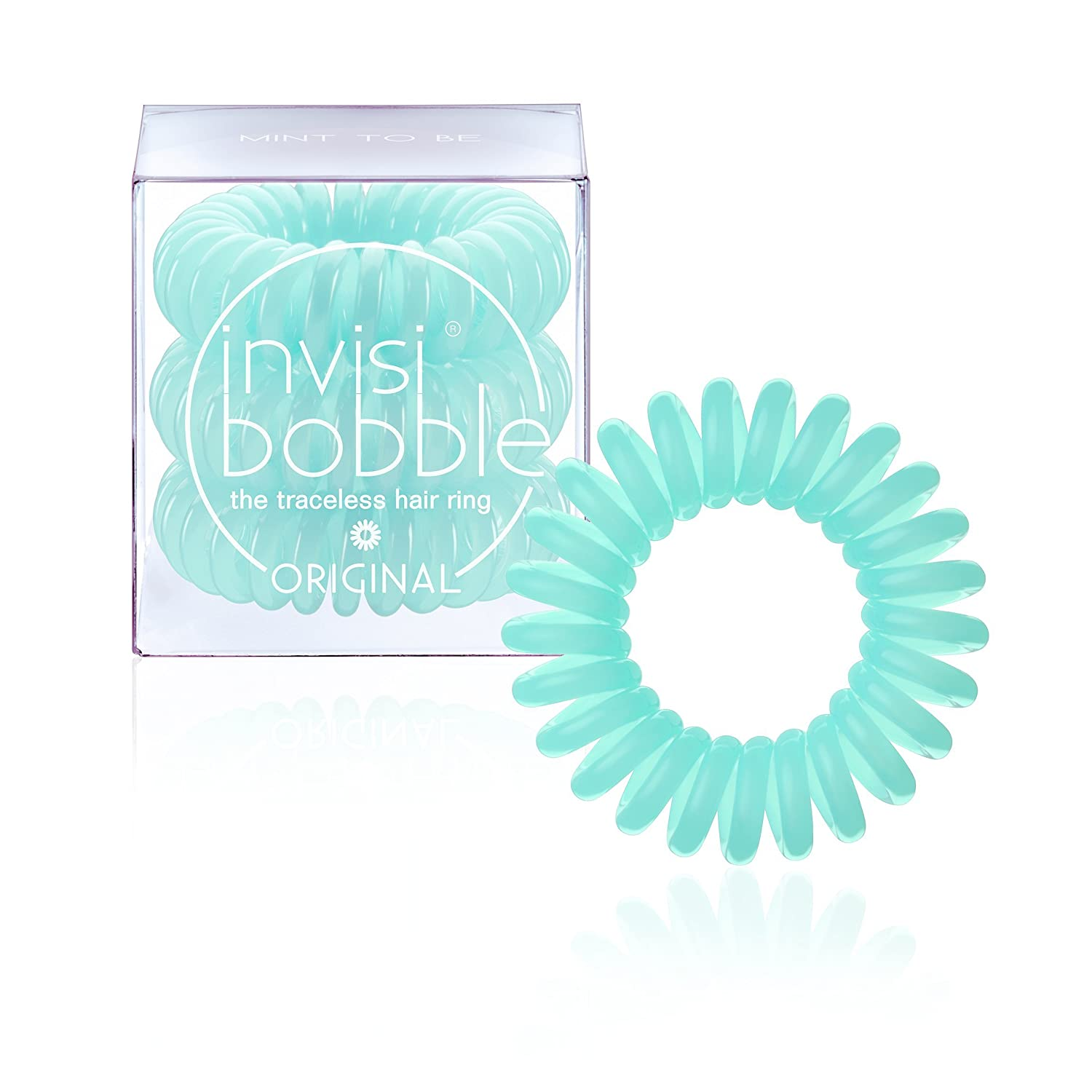invisibobble ORIGINAL Mint To Be, the traceless and original spiral shaped hair ring, color: mint, 3 hair ties per packaging invisibobble GmbH IB-OR-PC10007