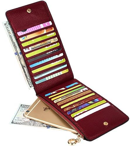 BIG SALE- 40% OFF- YALUXE Women's Genuine Leather Multi Card Organizer Wallet with Zipper Pocket