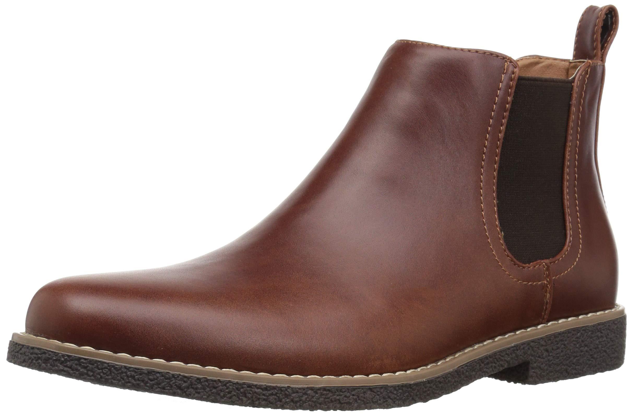 Deer Stags Boys' Zane Memory Foam Dress Comfort Chelsea Boot, Redwood/Dark Brown, 5 Medium US Big Kid