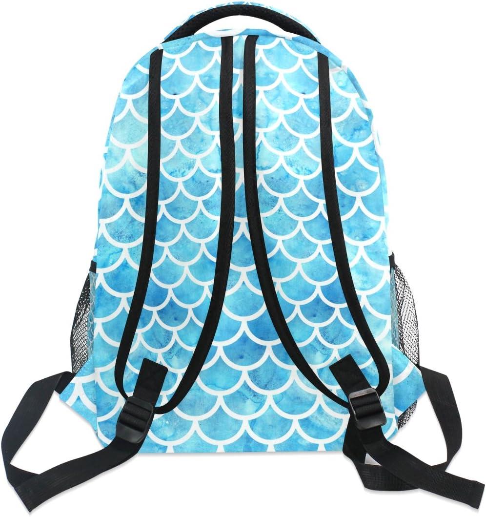Mermaid Scales Printed Casual Laptop Backpack College School Bag Travel Daypack