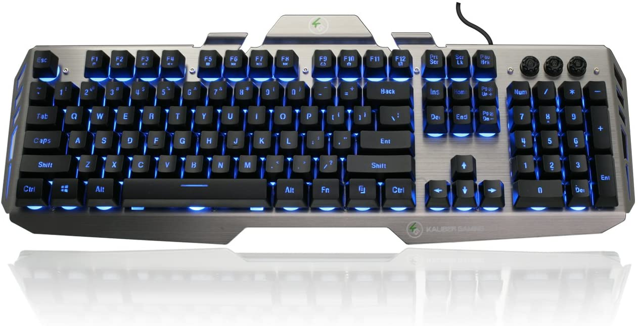 IOGEAR Kaliber Gaming HVER Aluminum Gaming Keyboard, Black/Gray,GKB704L-BK
