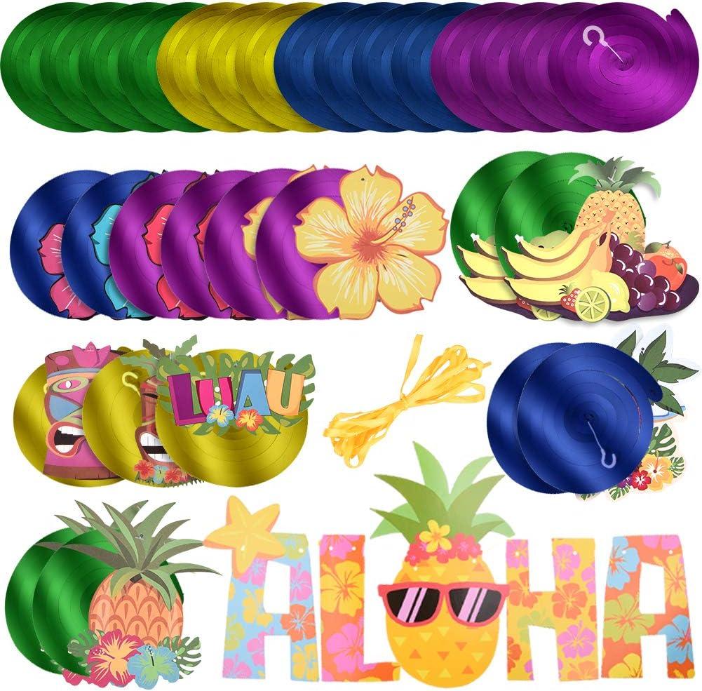 31 Piezas de Dinosaurios Kit de decoración/Jurassic Style Dinosaur Fiesta temática Luau Hawaii espirales turbinantes para Baby Shower niños Fiesta de cumpleaños Techo decoración