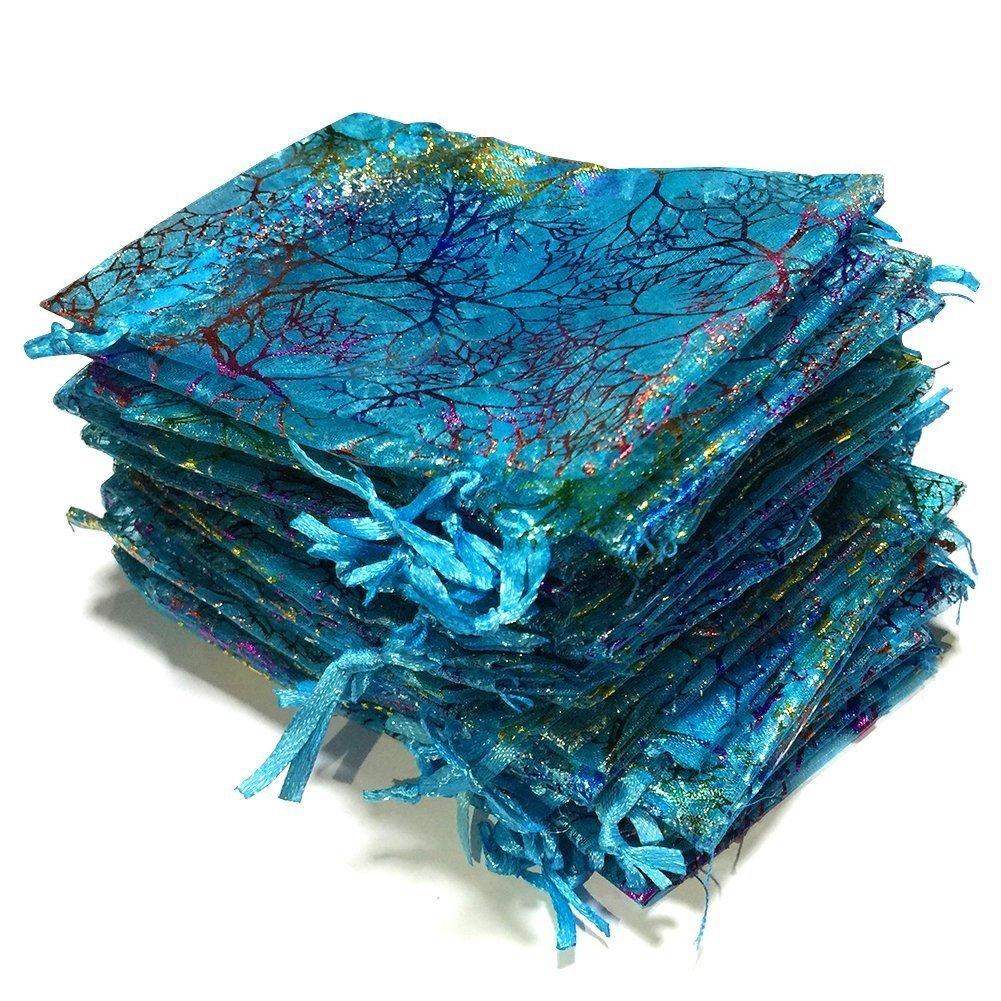 Golvery 100 Stück Coralline Muster Organza Geschenktüten, Drawstring Beutel Schmuck Taschen, Candy Pouch Schokolade Pouch Party Hochzeit Gunst Geschenktüte, 12 x 9 cm JTKJ Gift Bags-Blue