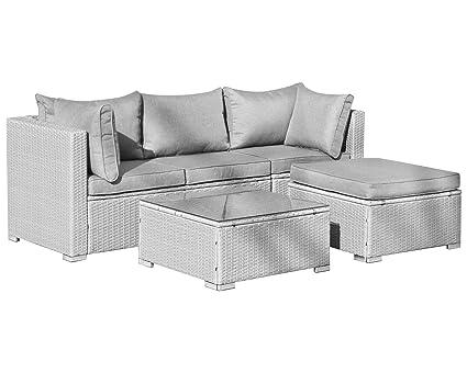 Hansson Gartenmobel Polyrattan Lounge Sitzgruppe Grau 3 Sitzplatze Plus Hocker Und Tisch