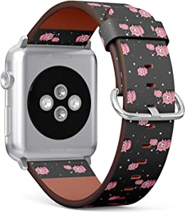 Compatible with Big Apple Watch 42mm & 44mm (All Series) Leather Watch Wrist Band Strap Bracelet with Stainless Steel Clasp and Adapters (Cute Pigs)