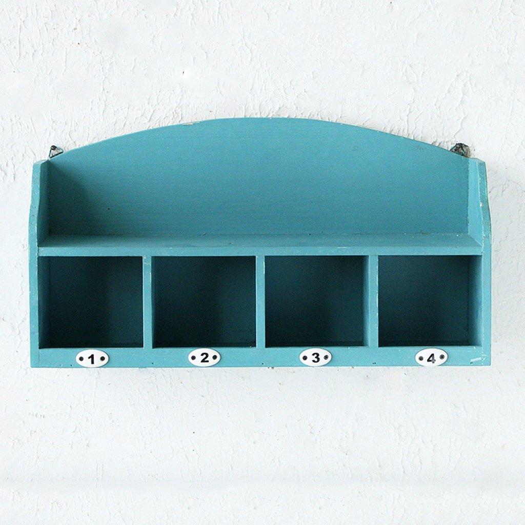 BJLWT Environmental Protection Solid Wood Lattice Storage Shelf, Bedroom Creative Decorative Wall Shelf 401526.6cm Organizer (Color : Blue)