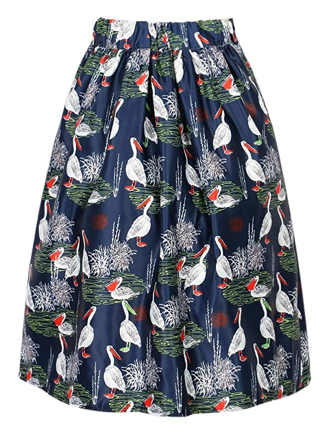 c182ebc28 Choies Women's Casual Pelican Animal Print Midi Skater Skirt Dark Blue One  Size at Amazon Women's Clothing store: