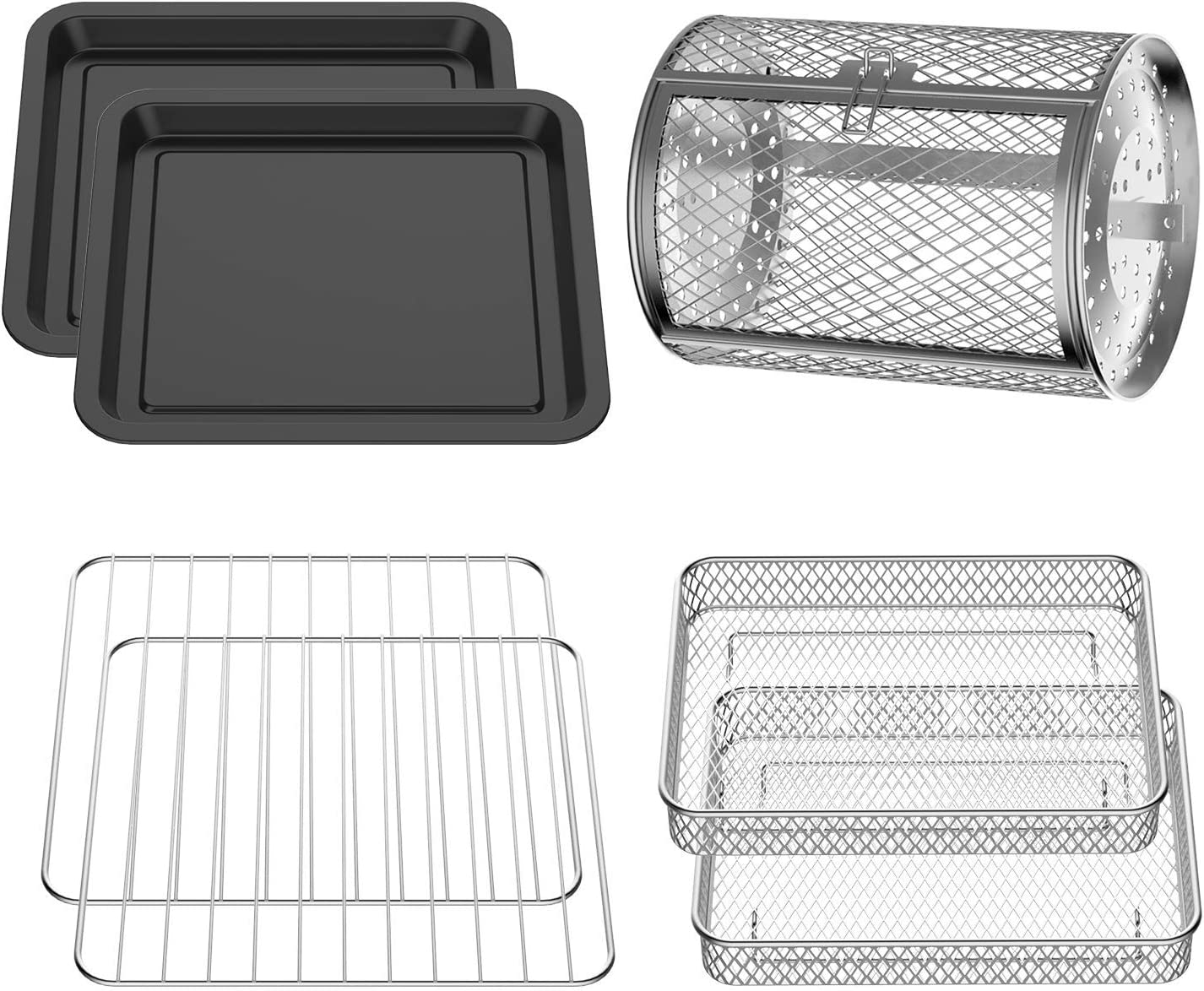 USBLUEWAVE 7-Pieces Air Fryer Oven Accessories Kit for Multi Brands, Rotisseries Drum| Baking Rack| Air Fryer Basket| Baking Tray, Easy Clean, Black&Silver