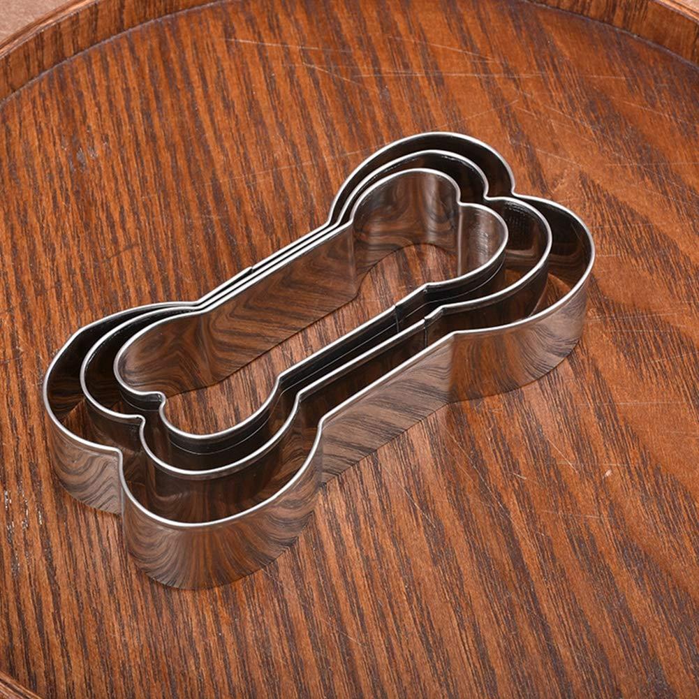 Egurs 3 en 1 Forma de Hueso de Perro Galleta de Galletas de Acero Inoxidable Pascua DIY Molde de la Comida de la Torta