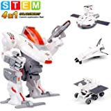 Sillbird STEM 4-in-1 Solar Science Robot kit for Kids, Educational Space Moon Exploration Fleet Building Experiment Toys kit for Boys and Girls Age of 8+ Years