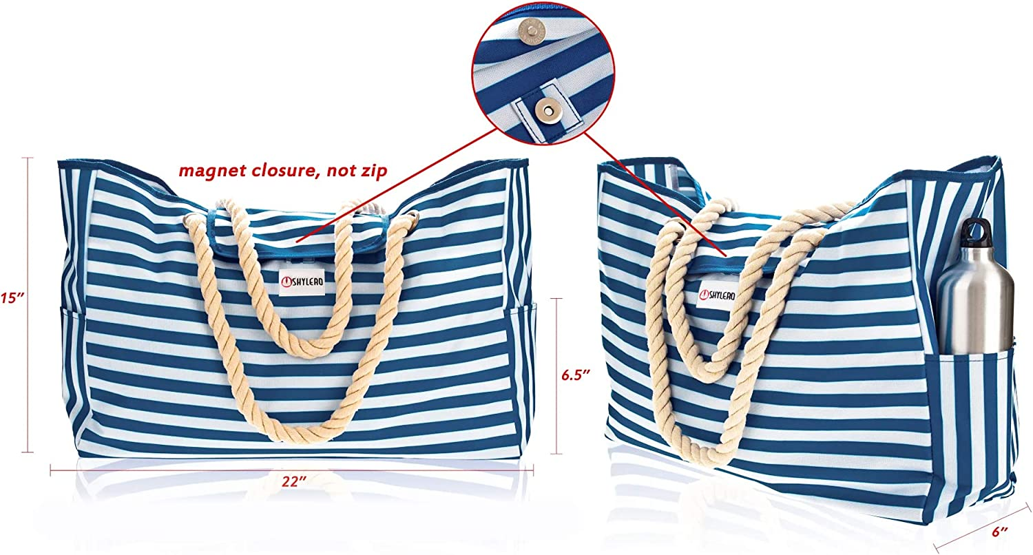 Rainbow Shoulder Beach Tote has Phone Case Two Outside Pockets Built-In Key Holder Cotton Rope Handles L22xH15xW6 100/% Waterproof Bottle Opener HUGE Top Magnet Clasp Beach Bag XXL