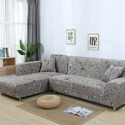 Amazon.com: RETAINS L Shaped Sofa Cover Elastic Blue Sofa Covers for ...