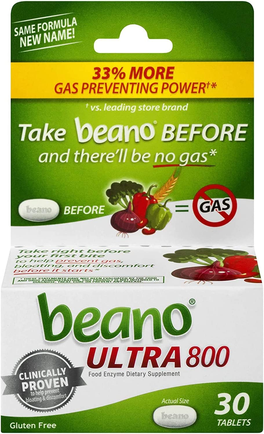beano Ultra 800 Gas Prevention, Food Enzyme Dietary Supplement, Help Digest Gas-Causing Foods, 30 Tablets | Pack of 3