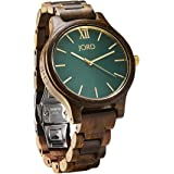 JORD Wooden Wrist Watches for Men or Women - Frankie Minimalist Series / Wood Watch Band / Wood Bezel / Analog Quartz Movement - Includes Wood Watch Box (Dark Sandalwood & Emerald)