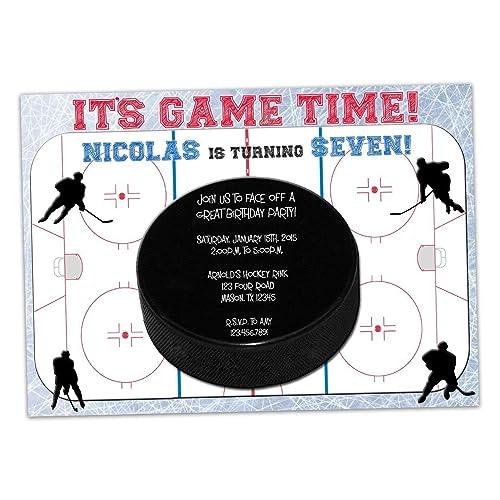 Amazon Com Hockey Birthday Invitations Boy Rink Ice Skating Handmade