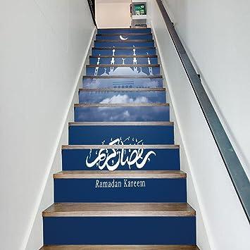 Treppen Aufkleber Islamisch Ramadan Dekoration Treppen Treppen Kreativ  Aufkleber,100*18cm*13pcs