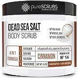 pureSCRUBS Premium Organic Body Scrub Set - Large 16oz CINNAMON BODY SCRUB - Dead Sea Salt Infused Organic Essential Oils & N
