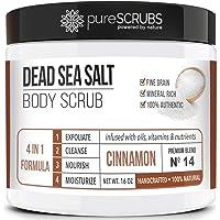 pureSCRUBS Premium Organic Body Scrub Set - Large 16oz CINNAMON BODY SCRUB - Dead Sea Salt Infused Organic Essential…