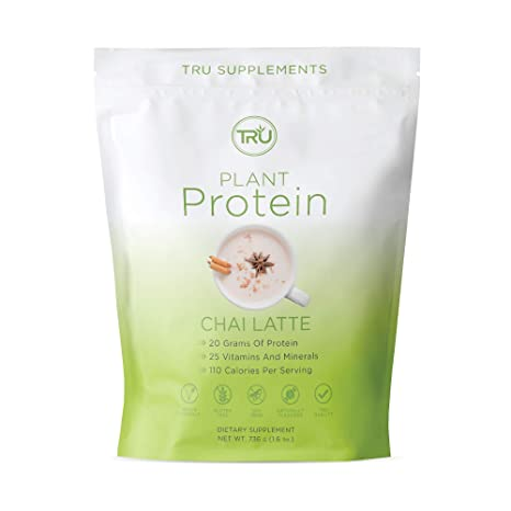 TRU Plant Based Protein Powder, Natural Flavor, Vegan & Keto Friendly, No Artificial Sweeteners, No Dairy, No Soy, 25 Servings (Chai Latte)