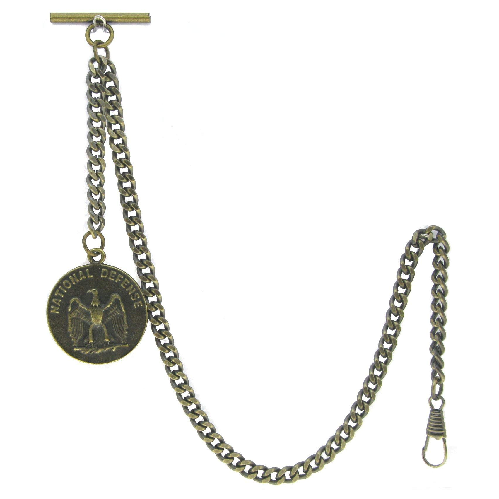 Albert Chain Pocket Watch Curb Link Chain Antique Brass Color US National Defense Medal Fob T Bar AC95