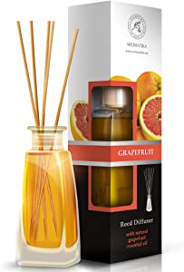 Grapefruit Reed Diffuser 100ml - Scented Reed Diffuser Grapefruit - 0% Alcohol, Diffuser Gift Set w/ 8 Sticks - Best for Aromatherapy - Home - Reed Diffuser Grapefruit by Aromatika